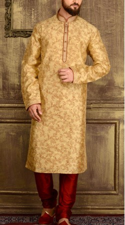 Party Wear Golden Jacquard Kurta Pajama For Men