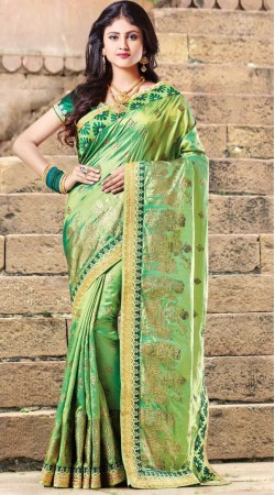 Party Wear Green Dual Tone Silk Saree