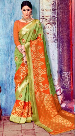 Party Wear Green Silk Saree With Blouse
