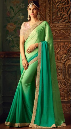 Party Wear Green Silk Saree With Pink Blouse