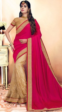 Party Wear Magenta And Beige Saree With Blouse