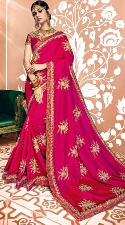Party Wear Magenta Two Tone Silk Saree