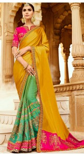 Party Wear Mustard And Green Silk Saree
