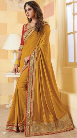 Party Wear Mustard Silk Saree With Blouse