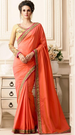 Party Wear Paper Silk Saree With Contrast Blouse