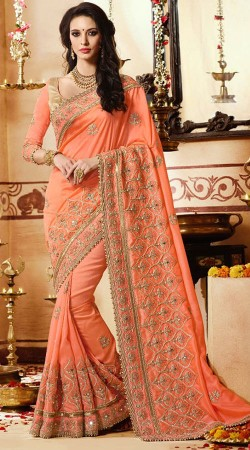 Party Wear Peach Border Saree With Matching Blouse