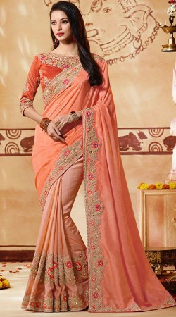 Party Wear Peach Saree With Matching Blouse Piece