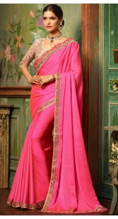 Party Wear Pink Border Saree With Embroidery Work Blouse