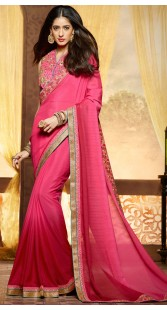 Party Wear Pink Border Saree With Matching Blouse