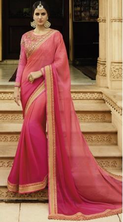 Party Wear Pink Chiffon Saree With Matching Blouse