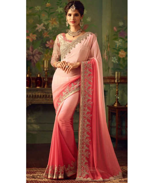 Party Wear Pink Embroidery Work Border Saree