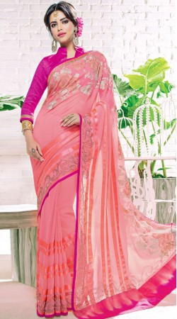 Party Wear Pink Georgette Beautiful Saree