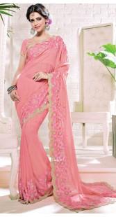Party Wear Pink Georgette Border Saree