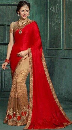 Party Wear Red And Beige Georgette Silk Saree