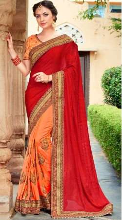 Party Wear Red And Peach Jacquard Silk Saree