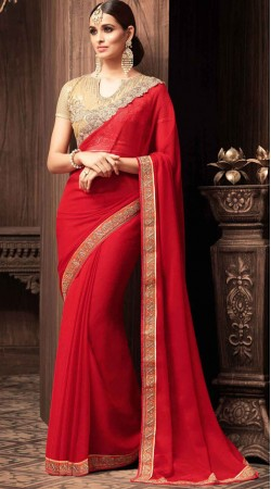 Party Wear Red Chiffon Beautiful Border Saree With Contrast Blouse
