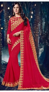 Party Wear Red Chinnon Saree With Matching Blouse