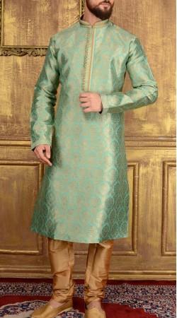 Party Wear Sea Green Jacquard Men Kurta Pajama