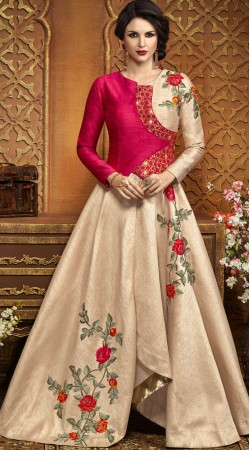 Party Wear Silk Angrakha Style Gown Suit