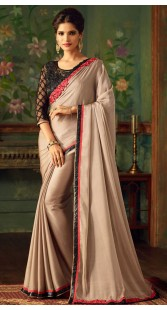 Party Wear Silver Border Saree With Designer Blouse