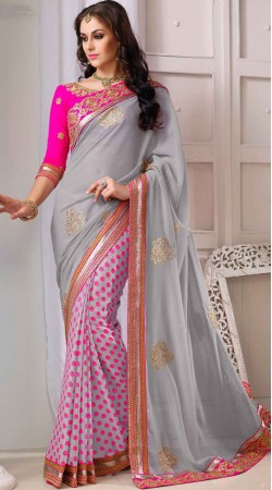 Party Wear Silver Chiffon Saree With Contrast Blouse