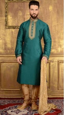 Party Wear Teal Banarasi Silk Kurta Pajama