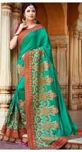 Party Wear Turquoise Silk Border Saree