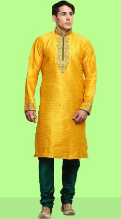 Party Wear Yellow Dupian Silk Kurta Pajama