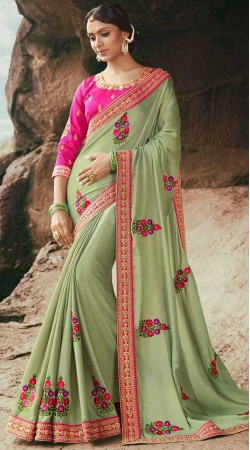 Pastel Green Party Saree With Contrast Blouse