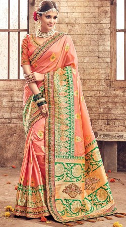 Peach Banarasi Pure Silk Pattu Saree With Matching Blouse