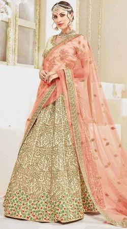 Peach Digital Net Cream Satin Lehenga Saree For Wedding
