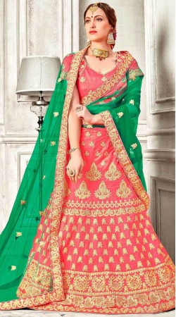 Peach Embroidery Work Lehenga Choli With Green Dupatta