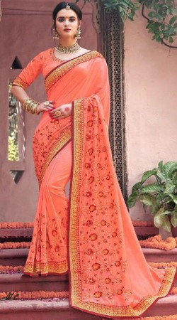 Peach Fancy Party Saree With Matching Blouse