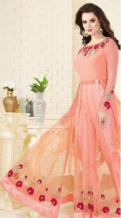 Peach Georgette And Net Party Wear Salwar Kameez