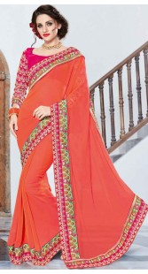 Peach Georgette Border Saree With Contrast Blouse