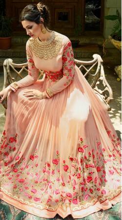 Peach Georgette Floral Work Anarkali Suit