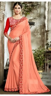 Peach Georgette Saree With Red Blouse