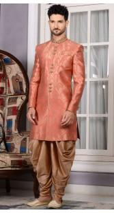 Peach Jacquard Wedding Designer Dhoti Sherwani