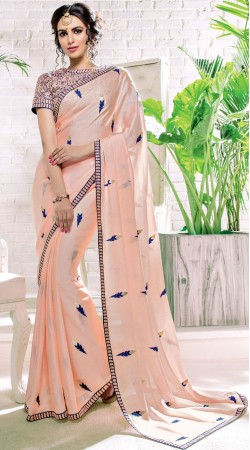 Peach Silk Georgette Party Saree With Blouse