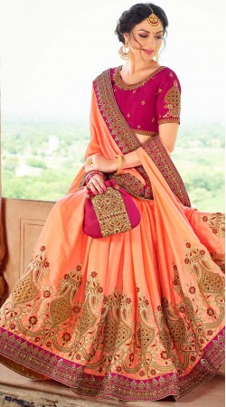 Peach Silk Saree With Contrast Blouse