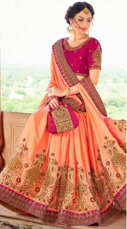 Peach Silk Saree With Contrast Blouse