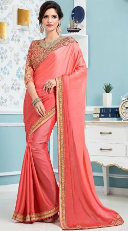Peach Soft Silk Saree With Embroidery Work Blouse