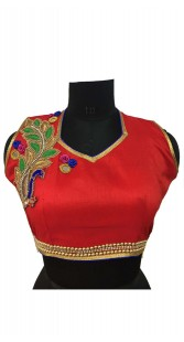 Peacock Work Red Silk Blouse