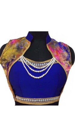 Pearl Moti Work Blue Silk Blouse