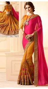 Pink And Mustard Embroidery Work Saree