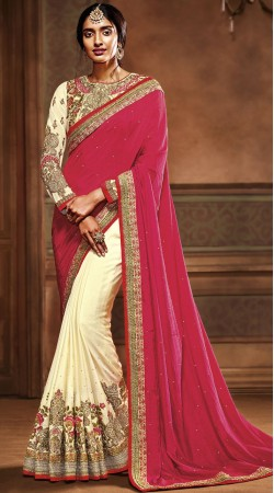 Pink And Off White Crepe Party Saree With Embroidery Work Blouse