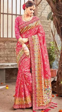 Pink Banarasi Pure Silk Wedding Saree With Blouse