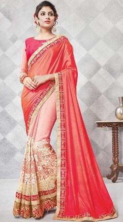 Pink Crepe And Georgette Saree With Matching Blouse
