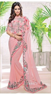 Pink Georgette Embroidery Work Border Saree
