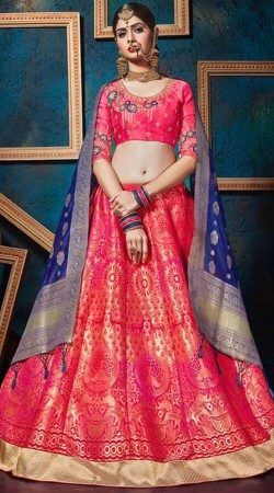 Pink Jacquard Silk Lehenga Choli With Contrast Dupatta